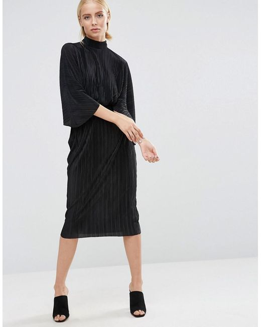ASOS | Black Plisse Dress With High Neck | Lyst
