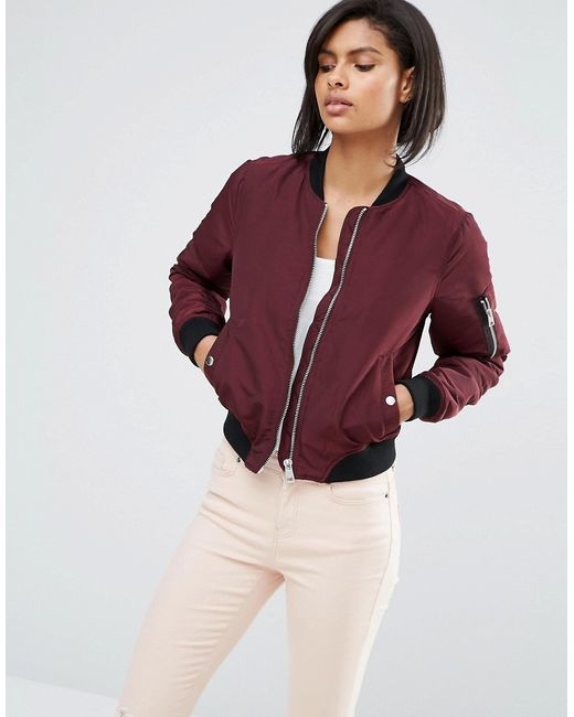 vero moda contrast rib bomber jacket brown in brown lyst. Black Bedroom Furniture Sets. Home Design Ideas