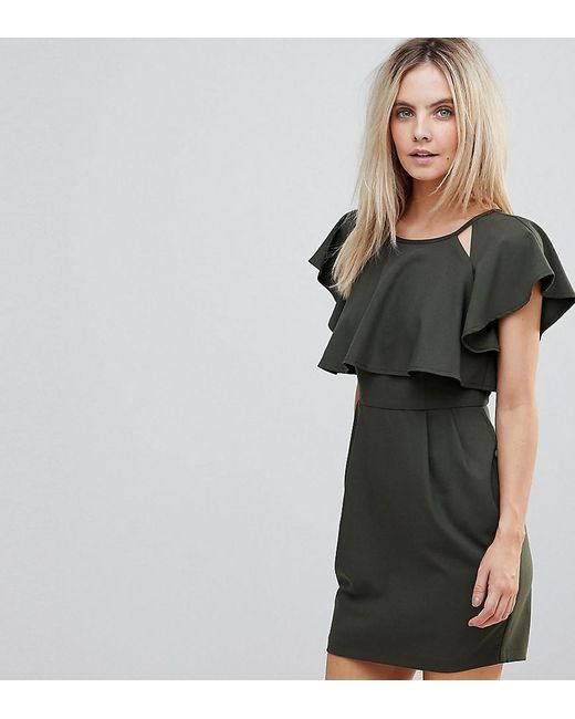 ASOS - Green Double Layer Mini Wiggle Dress With Angel Sleeve - Lyst