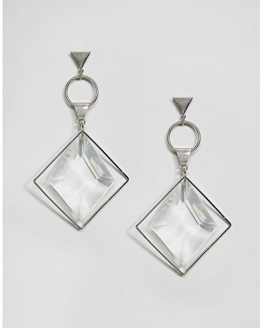 ASOS | Metallic Faceted Shard Open Shapes Earrings | Lyst