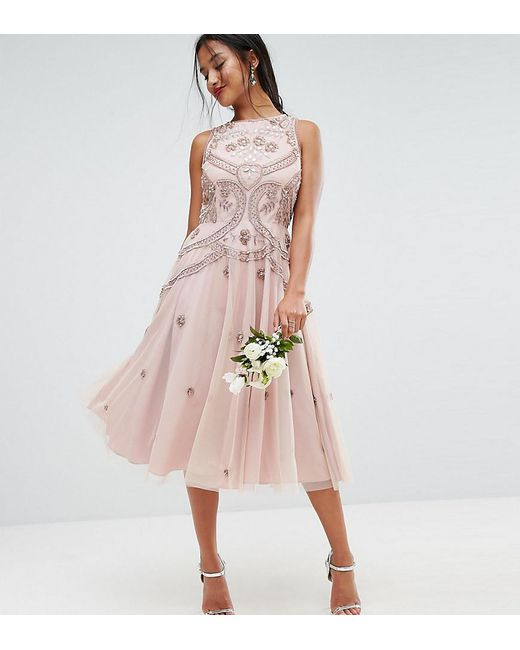 Asos Bridesmaid Irridescent Delicated Beaded Skater Midi