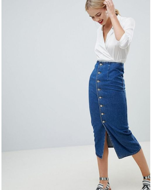 ASOS - Denim Midi Skirt With Buttons In Midwash Blue - Lyst