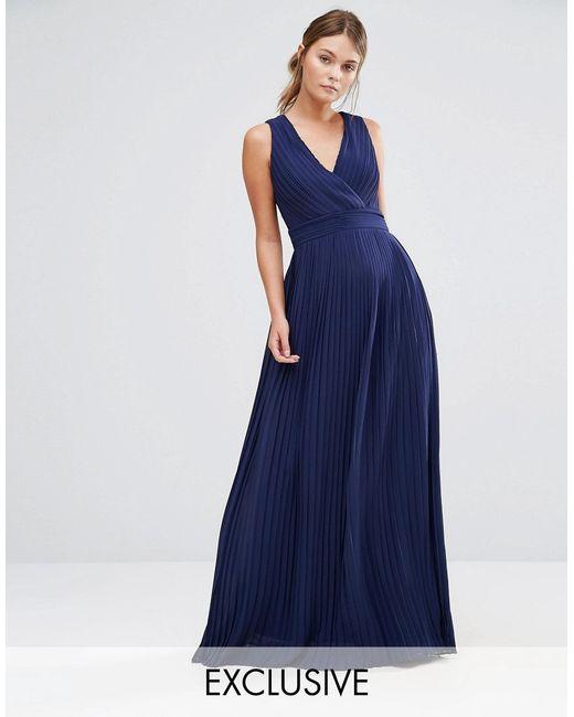 Tfnc london wedding pleated wrap maxi dress in blue lyst for Tfnc wedding wrap maxi dress