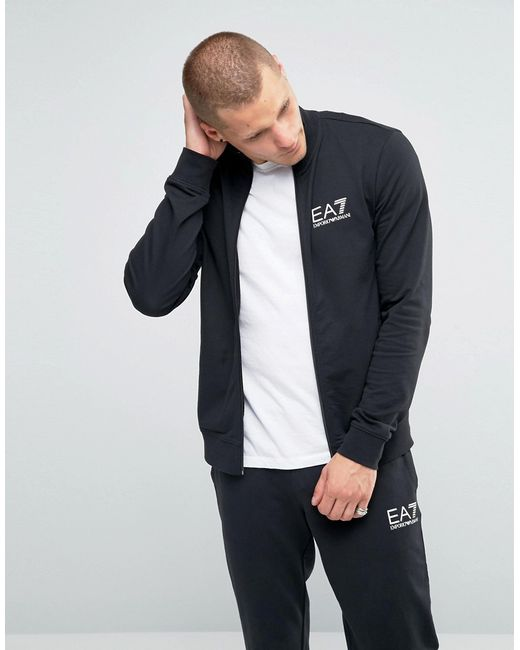 Ea7 Emporio Armani Tracksuit Set With Chest Logo In Black