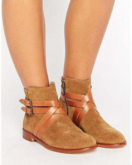 H by Hudson | Brown Atlas Suede Strap Flat Ankle Boots | Lyst