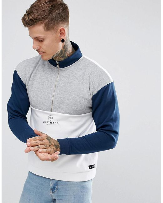 Hype | White Sweatshirt With Quarter Zip And Funnel Neck for Men | Lyst