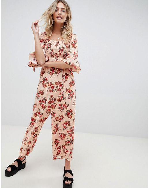 ASOS - Multicolor Jumpsuit With Shirred Bodice In Ditsy Floral Print - Lyst