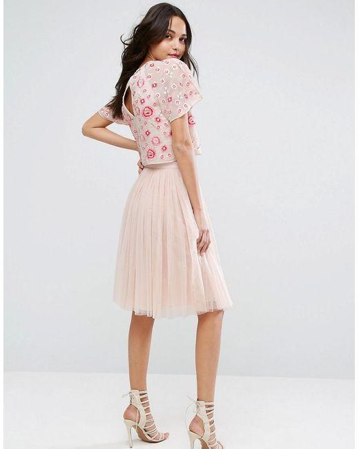 needle thread tulle midi skirt in pink lyst