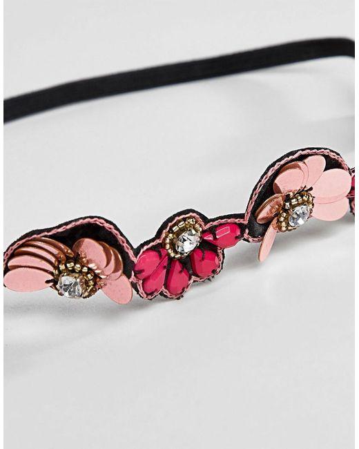 DESIGN Jewel Bead And Metallic Disc Headband - Pink Asos Gwzos3