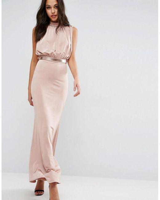 asos slinky high neck metallic belt maxi dress in pink lyst