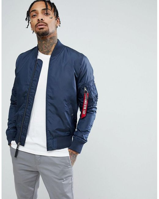 Alpha Industries - Blue Ma1-tt Bomber Jacket Slim Fit In Navy for Men - Lyst