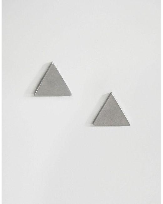 ASOS - Metallic Triangle Plug Earrings In Silver - Lyst