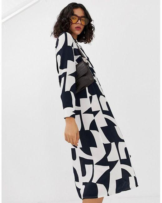 eaee4717f Vero Moda - White Bold Abstract Wrap Midi Dress - Lyst ...