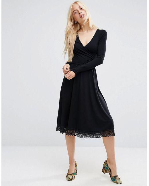 ASOS | Black Midi Wrap Dress With Lace Hem | Lyst