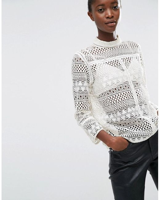 Mango | White Round Neck Top With Cut Out Detail | Lyst