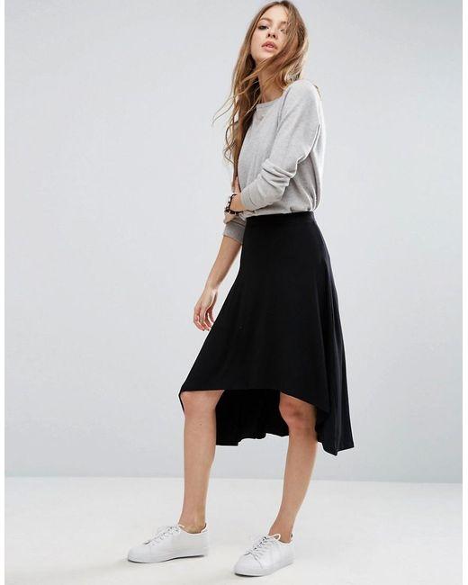 asos midi skater skirt with high low hem in black lyst