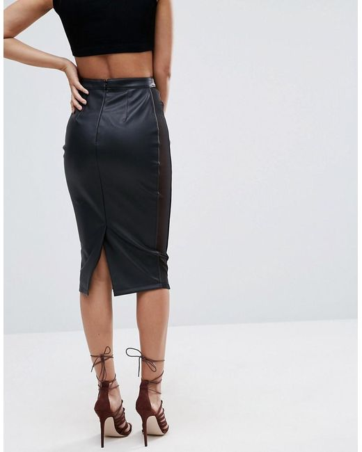 Asos Pencil Skirt In Faux Leather With Mesh Panel Detail in Black ...