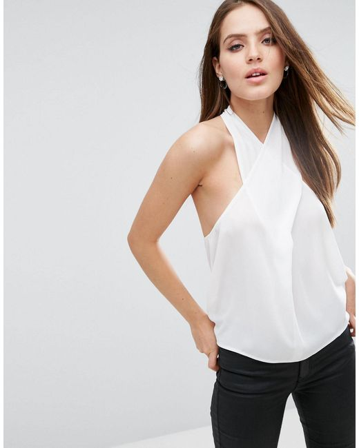 ASOS   White Wrap Halter Top With Back Detail   Lyst