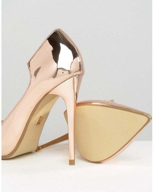 Lost Ink | Metallic Freya Rose Gold Curved Court Shoes | Lyst