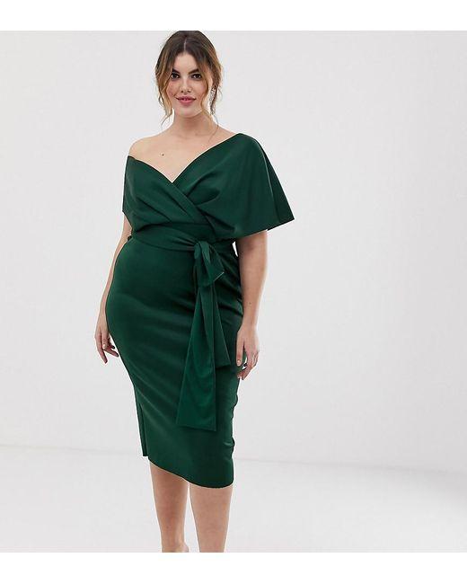 4b4d59fea1 ASOS - Green Asos Design Curve Fallen Shoulder Wrap Midi Dress With Tie  Detail - Lyst ...