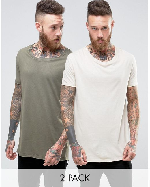 ASOS | Natural 2 Pack Super Longline T-shirt In Green/beige With Stretch Neck Save for Men | Lyst