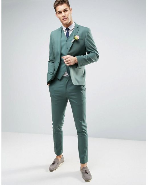 Asos Wedding Skinny Suit Jacket In Pine Green in Green for Men | Lyst