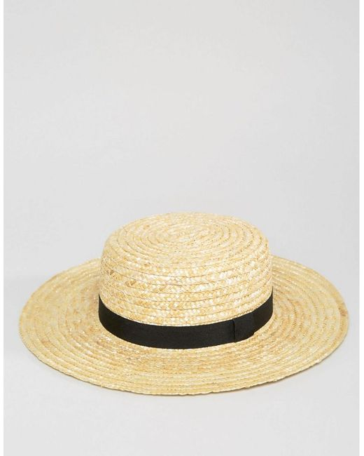 912fea0f122f4 ... South Beach - Natural Straw Boater Hat With Black Ribbon - Lyst