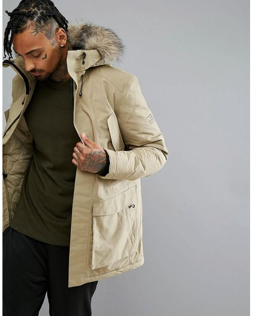 Jack & Jones | Natural Tech Arctic Parka With Faux Fur Hood for Men | Lyst