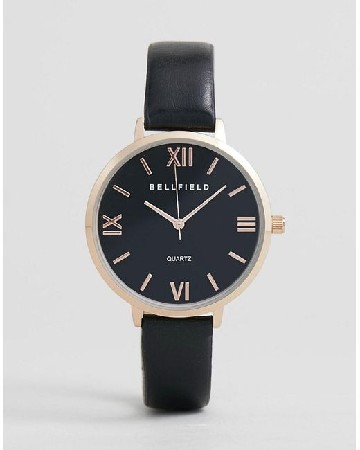 Bellfield - Watch With Rose Gold Case And Black Strap for Men - Lyst