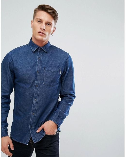 Jack & Jones | Intelligence Relaxed Fit Denim Shirt In Dark Blue Wash for Men | Lyst