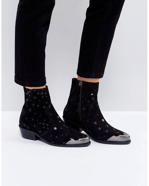 ASOS - Black Amma Suede Star Boots - Lyst