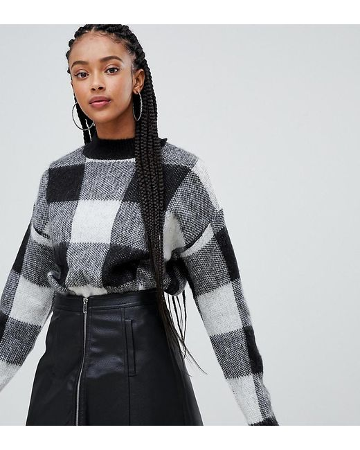 Bershka - Black Brushed Check Sweater - Lyst