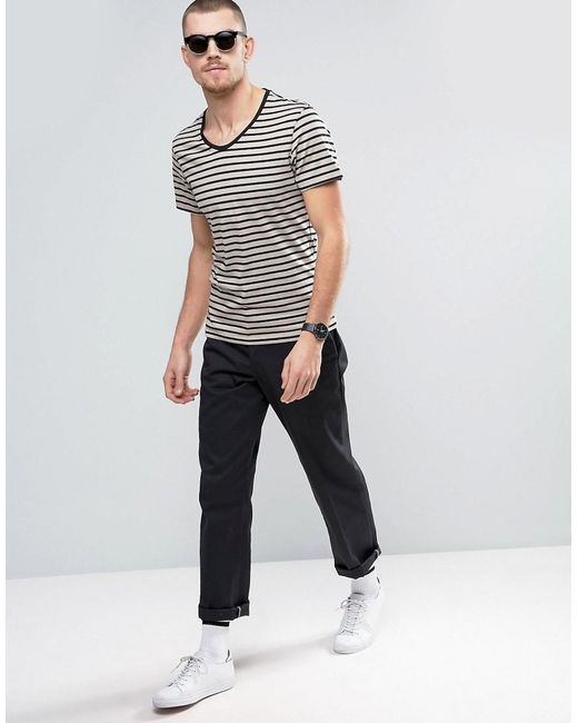 Casual Friday T Shirt In Stripe In Natural For Men Lyst
