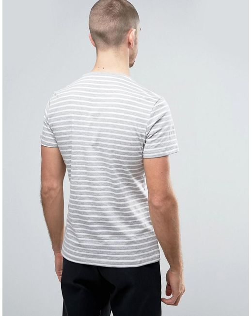 Casual Friday T Shirt In Stripe In Gray For Men Lyst