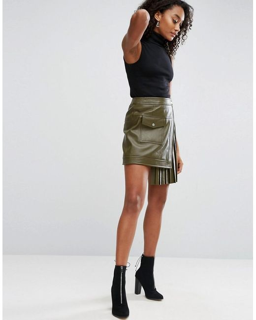 Asos Leather Skirt With Pleated Sides in Green | Lyst