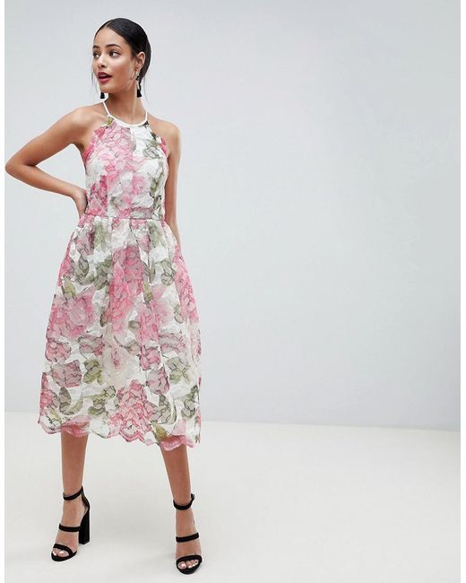 ASOS DESIGN - Pink Pinny Prom Midi Dress In Floral Lace - Lyst