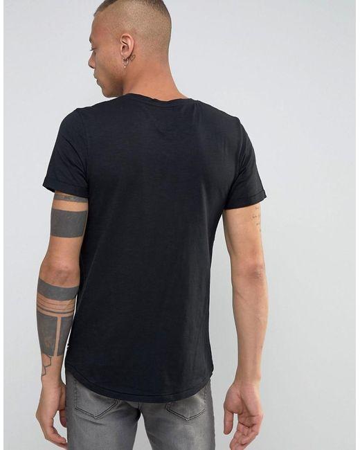 Produkt v neck t shirt with pocket in black for men lyst for Men s v neck pocket tee shirts