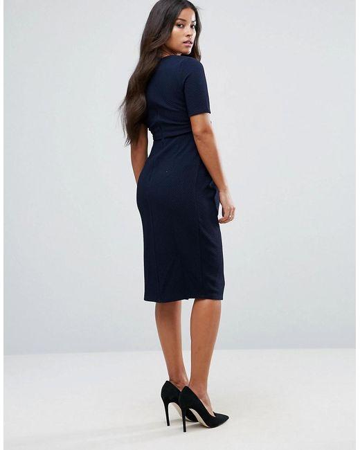 aa37d10a20933 ... ASOS - Blue Asos Design Maternity Double Layer Textured Smart Dress -  Lyst