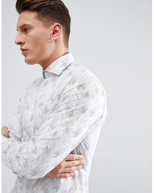 SELECTED - White Slim Fit Smart Shirt With All for Men - Lyst