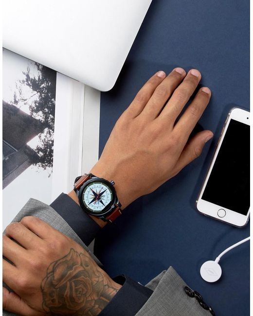 fossil q marshal leather smart watch in tan in blue for. Black Bedroom Furniture Sets. Home Design Ideas