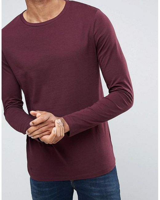 Asos tall long sleeve t shirt with crew neck in red for for Mens long sleeve t shirts tall