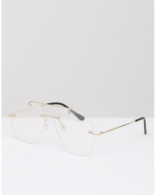 Asos Geeky Clear Lens Rimless Aviator Glasses in Metallic ...