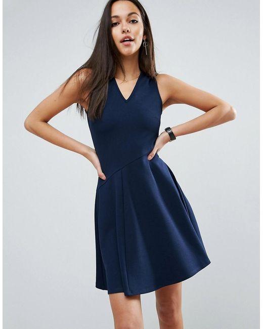 ASOS | Blue Skater Dress With Asymmetric Full Skirt Dress With V Neck | Lyst