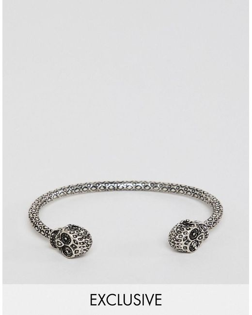 Reclaimed (vintage) - Metallic Inspired Bangle With Skull In Burnished Silver Exclusive At Asos for Men - Lyst
