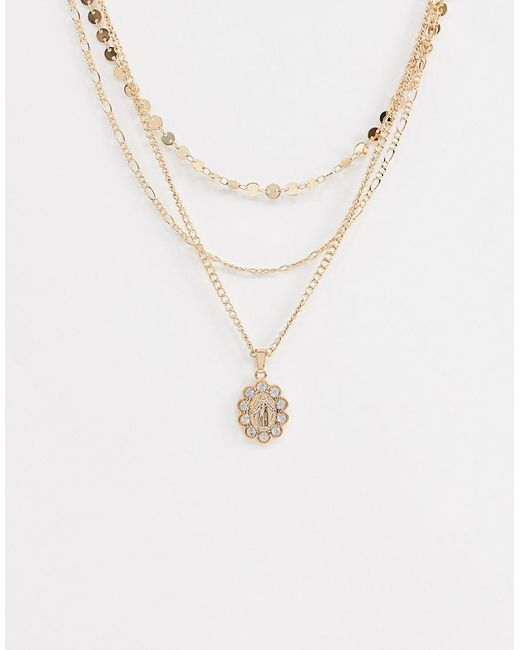 ASOS - Metallic Multirow Necklace With Vintage Style Icon Pendant And Crystals In Gold - Lyst