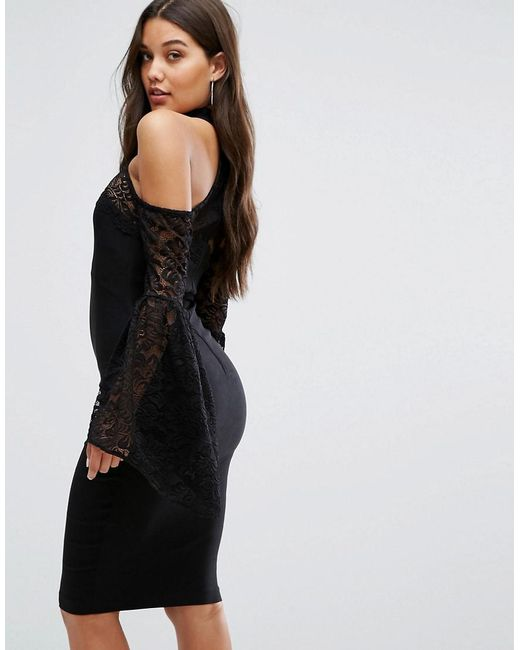 High Neck Midi Dress with Lace Detail and Exaggerated Bell Sleeve - Black Vesper 7tiOrN2