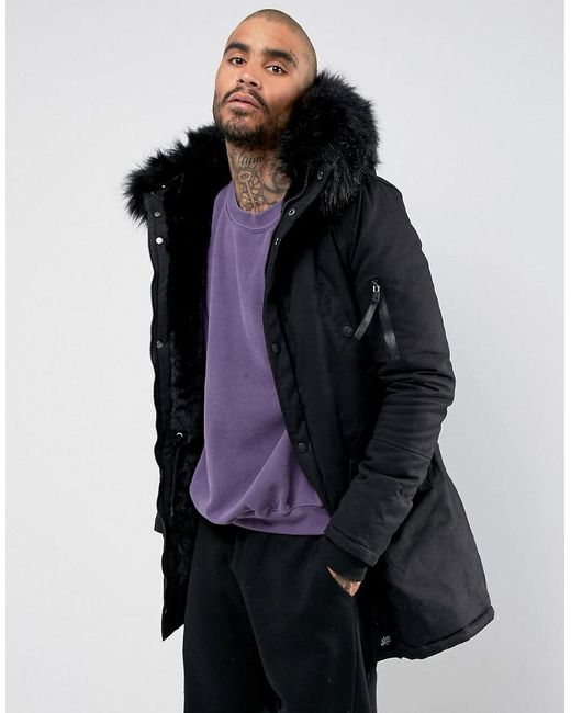 2be8657d7d53f Sixth June - Parka Coat In Black With Black Faux Fur Hood for Men - Lyst ...