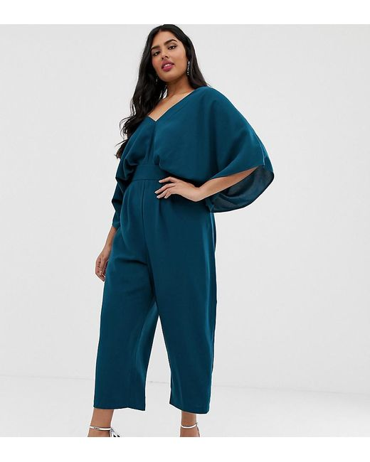 bc16f3e28d16 ASOS - Green Asos Design Curve Jumpsuit With Kimono Sleeve And Peg Leg -  Lyst ...