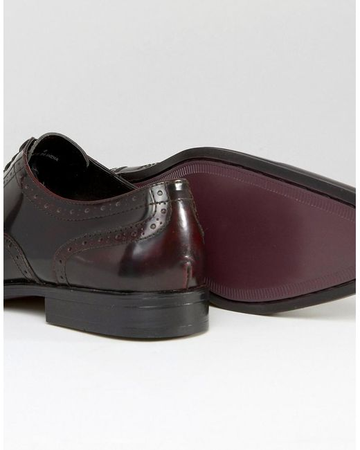 asos brogue shoes in burgundy leather in for lyst