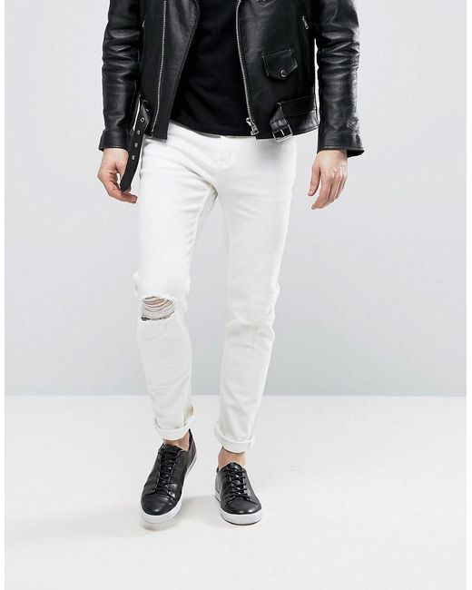 Cheap monday Sonic Jeans Summer White in White for Men | Lyst